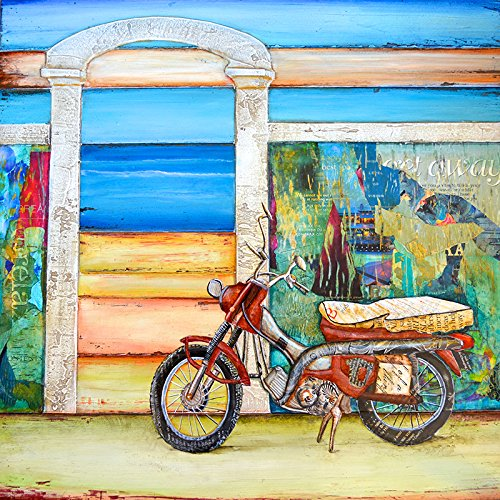 Pit Stop - Danny Phillips art print, UNFRAMED, motorcycle, beach, carribean Inspired funky retro vintage mixed media art wall & home decor poster, ALL SIZES	 0