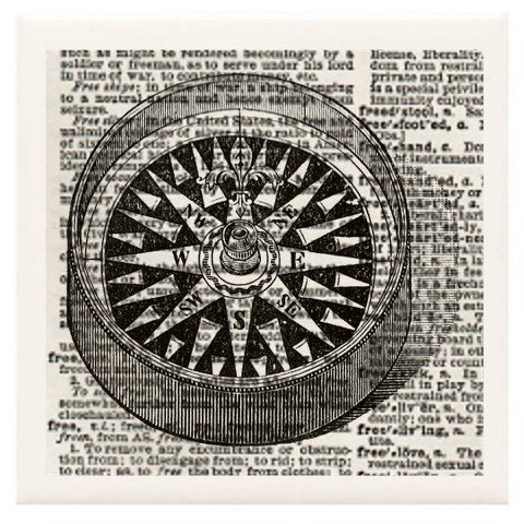 """Hand Made Coasters [Set Of 4] - Steampunk/Nautical """"Mariner'S Compass"""" Artwork Combines With Vintage Dictionary Pages, Ceramic Tiles And Specialty Materials To Create These Coasters From Our Modern Art Design Collection - A Stylish And Chic Way To Add A U front-95796"""