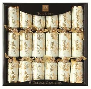 Tom Smith 6 x 14-inch Gold and Cream Deluxe Crackers, Cream