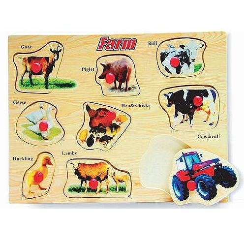 Cheap Puzzled Farm 1 – Wooden Peg Puzzle (B004MTW6RK)