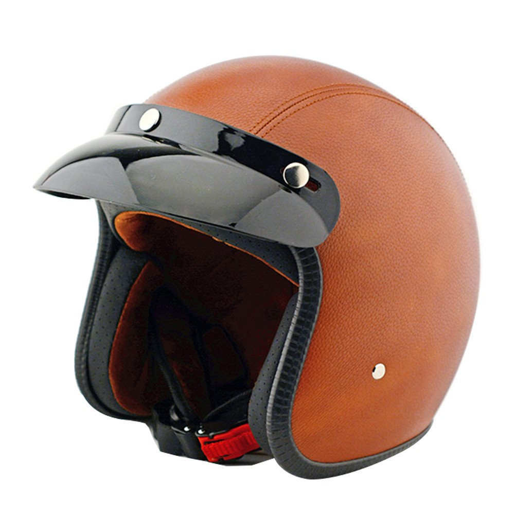 Tpfocus Fashion 3/4 Open Face Motorcycle Leather Vintage Helmet, Brown L 2