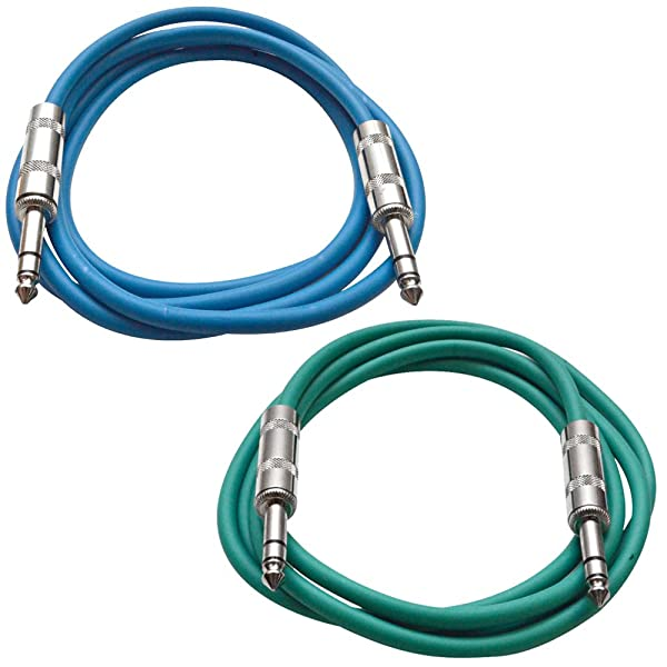 """Green 1//4/"""" TRS 10/' Patch Cable  Effects SEISMIC AUDIO"""
