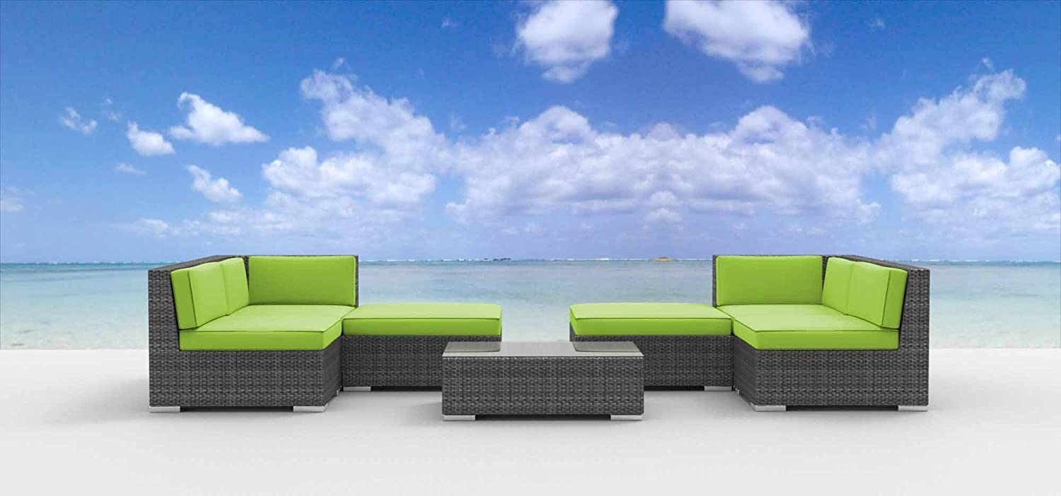 www.urbanfurnishing.net Urban Furnishing - HAWAII 7pc Modern Outdoor Backyard Wicker Rattan Patio Furniture Sofa Sectional Couch Set - Lime Green at Sears.com