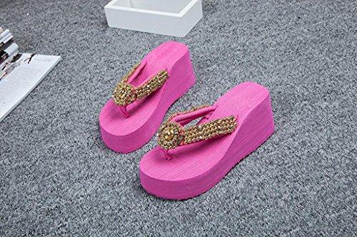 JIAJIA Tendenza delle pantofole infradito in PVC antiscivolo tacco alto scarpe casa 36 37 38 39 3 4 5 6 7 8 9 10 , rose red , 37