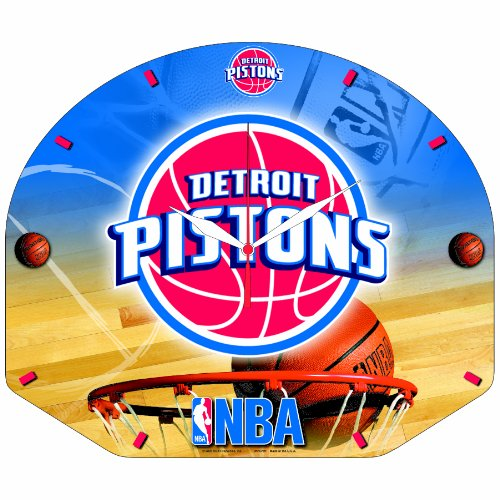 NBA Detroit Pistons Backboard Shaped High Definition Clock
