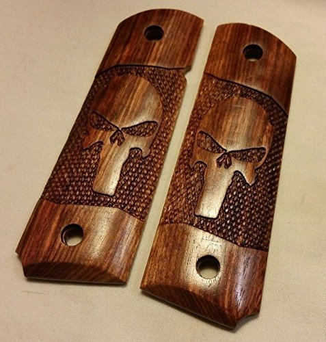 Full size 1911 Caribbean Rosewood Grips with Skull Engraving (1911 Bushing Compensator compare prices)