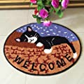 TideTex Fashion Cartoon Cat Pattern Rugs Oval Bedroom Carpets Living Room Mats Door Mats Computer Chair Coffee Table Carpets Foot Non-Slip Mats Area Rugs