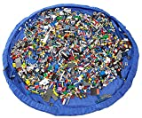 EZY Tidy Storage Bag - Nursery Storage and Organization Made Easy! - Large 60 Inch diameter floor mat folds up quickly & easily into a shoulder bag - Perfect for Lego products & other favorite toys at home or on the go. Blue - 100% Guarantee