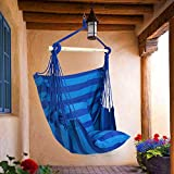 Zeny? Hanging Patio Chair Hammock Swing Outdoor Porch Tree Rope Seat Yard Hanging Rope Chair Porch Swing Lounge Camp Seat (Blue)