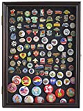 Lapel Pin, Button, Medal, Jewelry Display Case Shadow Box, with Glass Door - Cherry Finish (PC01-CH)