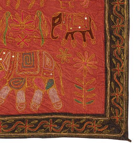 Imagen 3 de Wall Hanging algodón indio Tabla Tapestry Throw Adorna con bordados y lentejuelas Zari trabajo Tamaño 34 x 24 pulgadas