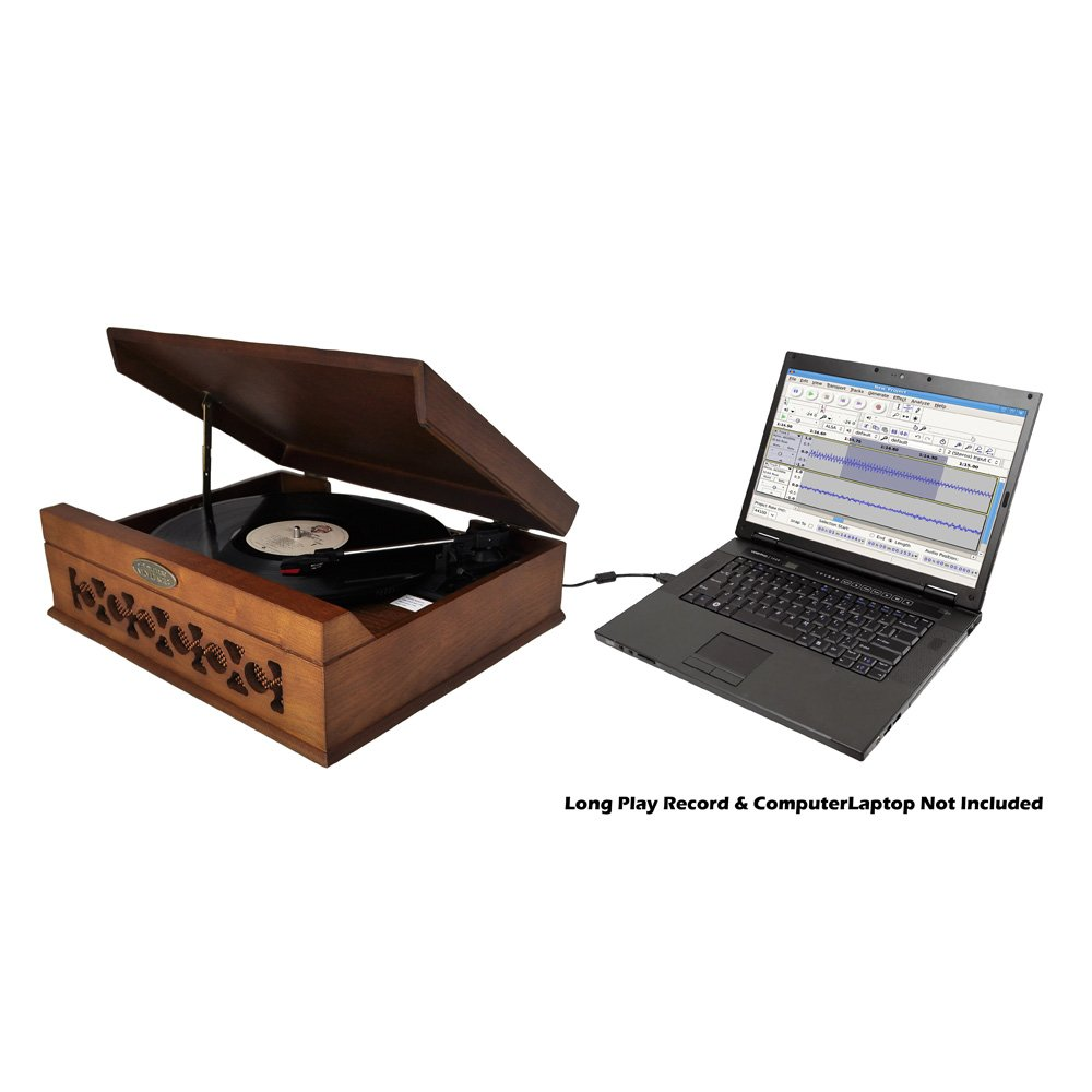 Pyle Home PVNTT6UMT Vintage Style Phonograph/Turntable with USB-To-PC Connection (Dark Maple) 3