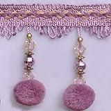 Wildgirl Pom Pom Trim Crystal-Like Beaded Curtain Fringe 13 Yards (Purple Pompon) (Color: Purple Pompon)