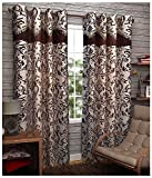 Kanha 4 Piece Polyester Abstract Door Curtain - 7ft, Brown