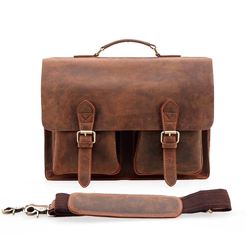 Kattee Handmade Genuine Leather Laptop Briefcase Messenger Bag