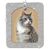 Pet Remembrance Magnetic Glitter Holiday Photo Ornaments, Vertical, Silver