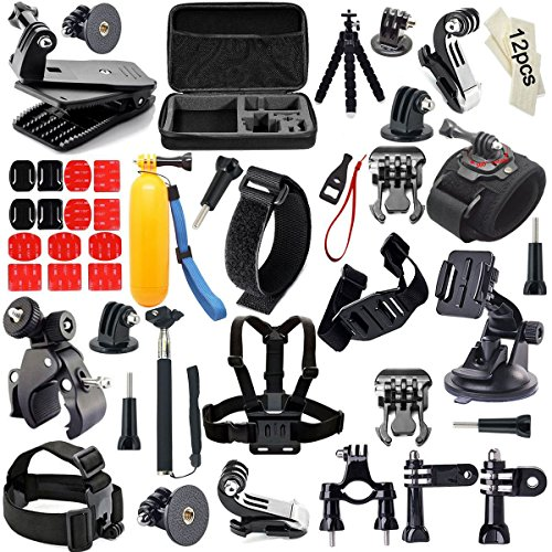 Iextreme 55-in-1 Action Camera Kit accessori Per Gopro 4/3/2/1 SJ4000 SJ5000 SJ6000 Carring Case Head Strap Chest Strap Selfie Stick Cinturino da polso nel Nuoto Canottaggio Sci Arrampicata Bicicletta campeggio immersioni e altri sport all'aria aperta