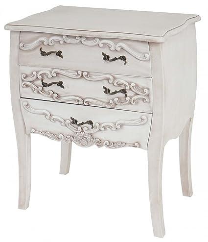 Commode en bois coloris blanc - Dim : H 70 x L 58 x 41 cm -PEGANE-