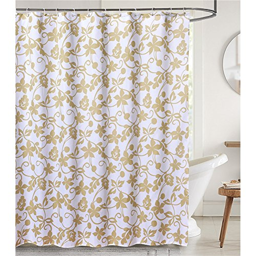 LanMeng Elegant Hedera Helix Plants Ivy Fabric Shower Curtain Mildew Resistant Waterproof / Water-Repellent and Antibacterial, Gray Background with light coffee decorative design (72-by-78 inches, 15) (Period Table Shower Curtain compare prices)