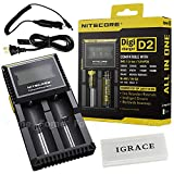 Smart Battery Charger, iGrace Nitecore D2 Charger with Integrated LCD Panel Clearly Displays For Li-ion Ni-MH And Ni-Cd Rechargeable Batteries with 12V Car Adapter and iGrace Battery Box