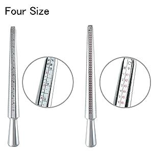 HYDDNice 4pcs Ring Mandrel Sizer Tool Jewelry Making Measuring Tools Kit with Metal Mandrel Finger Sizing Measuring Stick 27pcs Ring Sizer Guage Circle Models (Tamaño: 4pcs)