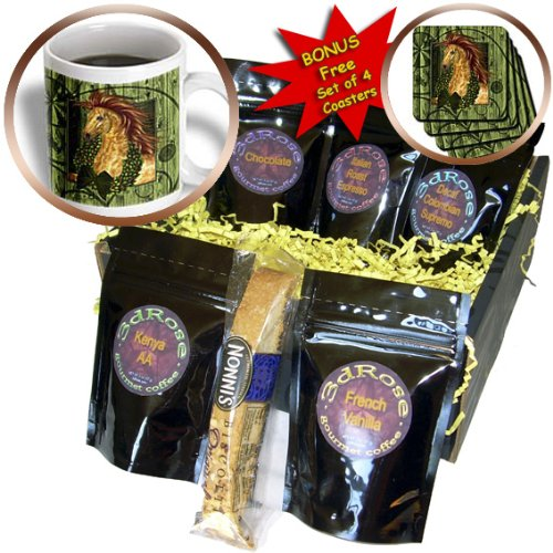 Cgb_164738_1 Doreen Erhardt Christmas Collection - Western Christmas Horse With Wreath And Barn Wood - Coffee Gift Baskets - Coffee Gift Basket
