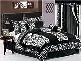 Chezmoi Collection 7pc Black & White Micro Fur Zebra with Giraffe Design Co ....