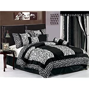 Micro Fur Zebra with Giraffe Design Comforter Set / Bed-in-a-bag Queen Size Bedding(7 Pieces Black & White )