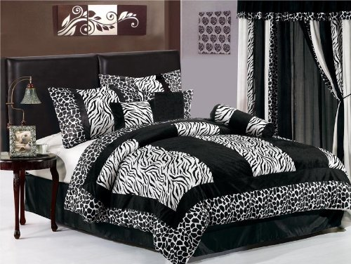 7 Pieces Black & White Micro Fur Zebra with Giraffe Design Comforter Set / Bed-in-a-bag Full or Double Size Bedding