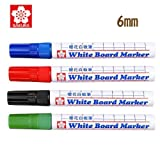 Sakura Dry Erase White Board Markers Pen Color Black, Blue, Red & Green From Japan For Teaching, Learn & Office Supplies (set of 4 pcs)