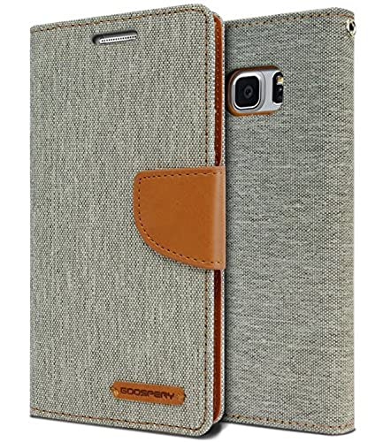 01. Galaxy Note 7 Case, [Drop Protection] GOOSPERY Canvas Diary [Denim Material] Wallet Case [ID Card / Cash Slot] with Stand Flip Diary Cover w/ TPU Casing for Samsung Galaxy Note 7, Gray / Camel