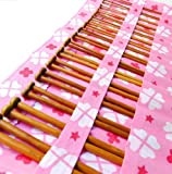 Seawhisper Set of 36 Single Pointed Carbonized Bamboo Knitting Needles of 18 Different Sizes in a Yellow or Pink Pouch Case