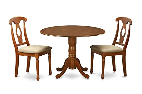 East West Furniture DLNA3-SBR-C 3-Piece Kitchen Table Set, Saddle brown Finish