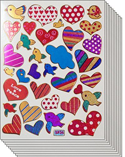 Jazzstick 300 Colorful & Fun Valentines Heart & Beart Stickers 10 sheets (VST01A16)