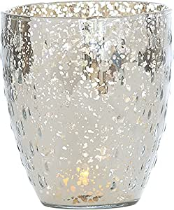Luna Bazaar Candle Holder (5.25-Inch, Rain Drop Motif, Silver Mercury Glass) - For Home Decor and Wedding Decorations - For Use with Tea Light Candles