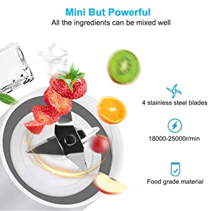 YesTree Portable Blender, Small Smoothie Blender - 4 Blades,17oz/500ml Fruit Mixing Machine with 4000mAh USB Rechargeable Batteries, Larger Stronger and Faster,Detachable Cup Blender, Blue (FDA BPA free) (Color: Blue, Tamaño: 500ml)