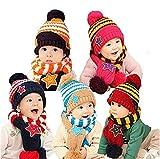 ベビー 子供 ニット 帽子 マフラー セット ふわモコ 手袋 付き あったか 毛糸 スター 全5色
