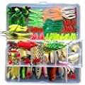 KMBEST Fishing Lures Mixed Lots including Hard Lure Minnow Popper Crankbaits VIB Topwater Diving Floating Lures Soft Plastics Worm Spoons Other Saltwater Freshwater Lures with Tackle Box by KMBEST