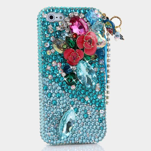 Great Price BlingAngels® 3D Luxury Bling iphone 5 5s Case Cover Faceplate Swarovski Crystals Diamond Sparkle bedazzled jeweled Design Front & Back Snap-on Hard Case (100% Handcrafted by BlingAngels) (Faded Blue Crystals and Flowers with Parrot Phone Charm)