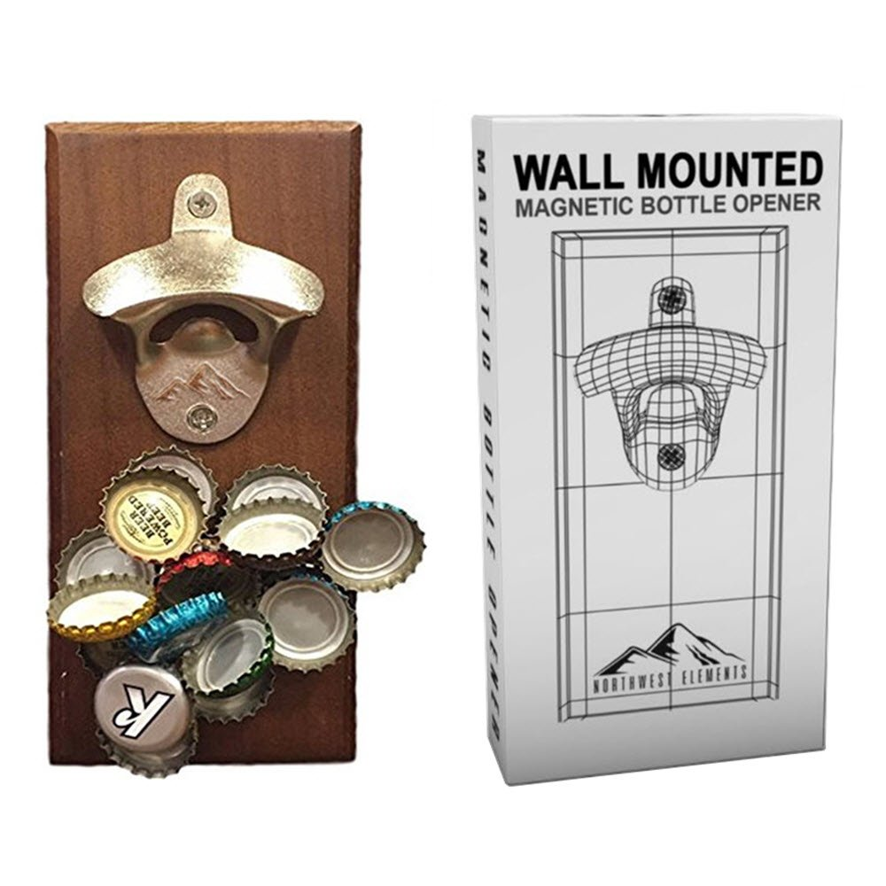 Wall Mounted Magnetic Bottle Opener - A Fun, Easy to Use Magnetic Bottle Opener for Your Fridge or Wall – The Cool Cap Catcher for Coke/Beer Bottles. Great Christmas gift. Bartenders Vintage Opener 1