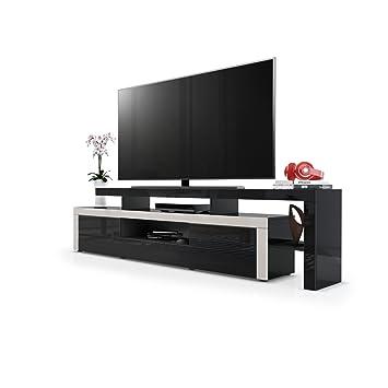 Meuble TV bas Leon, Corps en Noir haute brillance / Façades en Noir haute brillance avec une bordure en Gris sable haute brillance