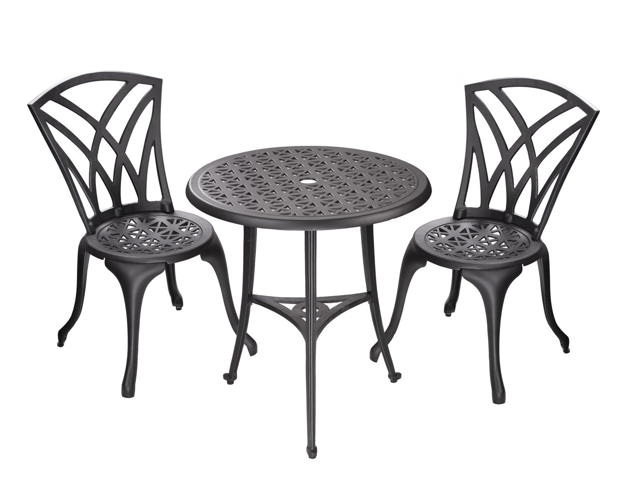 bistrotisch mit 2 st hlen in gussaluminium schwarz malaga online. Black Bedroom Furniture Sets. Home Design Ideas