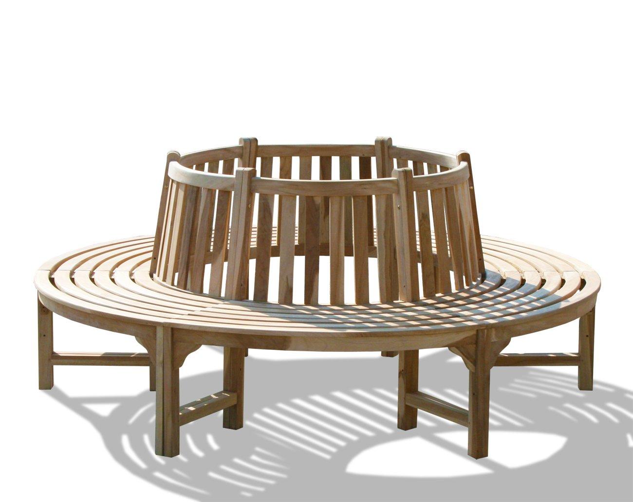 KMH®, 360° Baumbank (Kreis) mit Rückenlehne aus massivem Teakholz! (#102092)