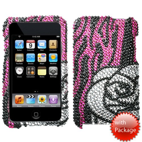 Hard Plastic Snap on Cover Fits Apple iPod Touch 2(2nd Generation) 3(3rd Generation) Zebra Rose/Hot Pink Premium Full Diamond/Rhinestone (Please carefully check your device model to order the correct version.)