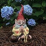 "1970's Zen Hippie Dude ""Jerry G"" Sitting Meditating Yoga Gnome Home and Garden Statue Figurine"