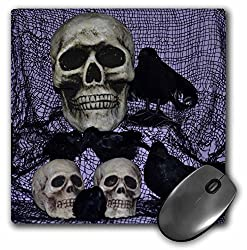 Skull and Ravens Skulls with Ravens by them - Mouse Pad, 8 by 8 inches (mp_27278_1)