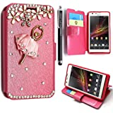 GSD STYLE YOUR MOBILE {TM} Sony Xperia SP M35H 3D Luxury Diamond Sparkly PU Leather Wallet Card Book Case Cover + Stylus