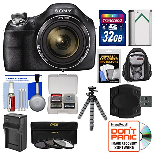 Sony Cyber-Shot DSC-H400 Digital Camera with 32GB Card + Backpack + Battery/Charger + Flex Tripod + 3 UV/ND8/CPL Filter Kit (Sony H300 Point And Shoot Camera compare prices)