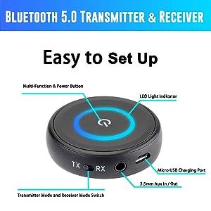 Friencity Bluetooth V5 0 Audio Transmitter Receiver with aptX Low