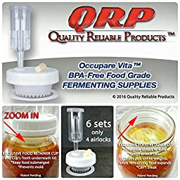 QRP Mason Jar BEGINNER\'S FERMENTATION KITS 6 Lids w/ EXCLUSIVE FOOD RETAINER AERATION CUPS = NO WEIGHTS NEEDED MOLD-PROOF, installed Grommets, Seals, Stoppers, & ONLY 4 AIRLOCKS (REGULAR MOUTH)